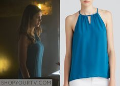Elena Gilbert (Nina Dobrev) wears this sleeveless keyhole top in this week's episode of The Vampire Diaries