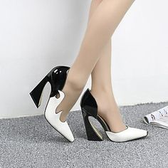 Women's Shoes Pointed Toe Chunky Heel Pumps with Split Joint Shoes – USD $ 39.99