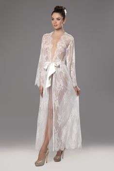 Bridal Robes, Bridal Lace, Satin Dresses, Sexy Dresses, Bridal Nightwear, Honeymoon Lingerie, Sheer Clothing, Pretty Lingerie, Mode Style