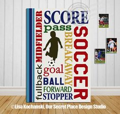 Soccer Wall Sign Soccer Wall Art Sports Signs by OurSecretPlace