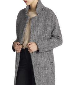 E-shop Manteau À Chevrons Gris Charlise pour femme sur Place des tendances  Groupe Printemps 81d6794df3f
