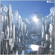 City landscape illustration deviantart 16 New ideas Cyberpunk City, Futuristic City, Futuristic Architecture, Fantasy City, Fantasy Places, Sci Fi Fantasy, Fantasy World, City Landscape, Fantasy Landscape