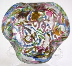 Murano Art Glass Tutti Frutti Bowl Multi Color Strands Murrhines Bullicante | eBay