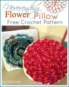 The Neverending crochet flower pillow pattern!  Beautiful way to add a pop of color!