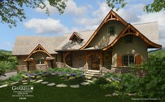 Garrell Associates, Inc.Hot Springs Cottage-Gable, House Plan # 12132, Mountain Style House Plans, Rustic House Plans, Lake House Plans