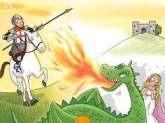 Aquest conte interactiu explica la llegenda de Sant Jordi i el Drac en tres idiomes  (espanyol, català i anglès).