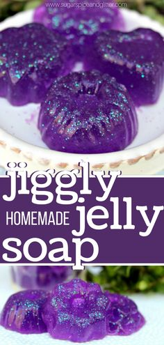 Fun, jiggly homemade jelly soap made with gelatin - no melt and pour soap base here! A fun homemade soap kids can make, perfect for party favors or non-food class gifts