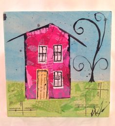 6x6 Original Mixed Media Collage - Pink House