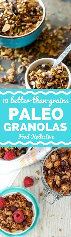I was looking for Paleo granola recipes and these look delicious! They are filled with nuts and other healthy ingredients. There are recipes for grain free granola, coconut granola, chocolate granola, and more. They would be perfect for a quick and easy Paleo breakfast. Collected on FoodKollective.com