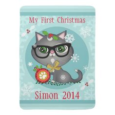 #Custom #Kitty #Cats #FirstChristmas #Baby #Blanket #babysFirstChristmas