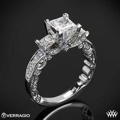 Verragio princess cut 3 stone engagement ring. I absolutely love the side on this.