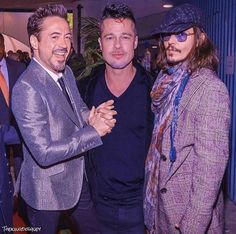 Robert with Brad Pitt and Johnny Depp Hollywood Actor, Hollywood Glamour, Hollywood Rock, Brad Pitt, Entertainment System, Hot Actors, Actors & Actresses, Johnny Depp Leonardo Dicaprio, Famous Celebrities