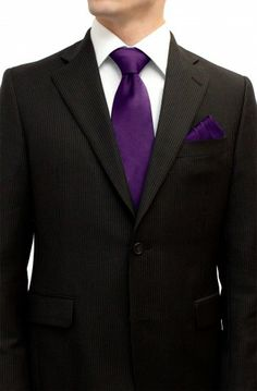 Plum Purple Tie and Pocket Square Set $38