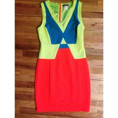 Colorblock Dress This green, blue, and red color block dress is a statement in itself. Very fun dress! Size is large but fits more like a medium. Dresses Midi