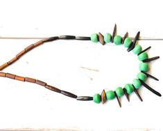 Fair Trade Recycled Glass Bead Necklace - Green Bead Tribal Necklace - Ghanian Bead African Necklace - Wood Bead Ethnic Necklace - Ethical thecoastaldesert the coastal desert handmade jewelry jewellery African Ghanaian upcycled