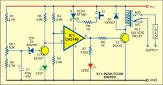 This is a simple circuit of low-cost door knock alarm with timer. This is low-cost circuit uses the piezoelectric element of a piezobuzzer as the input sensor. The piezoelectric element plate is fixed at the centre of the door wing by using a cello tape. Electronics Basics, Electronics Projects, Diy Amplifier, Simple Circuit, Power Supply Circuit, Electronic Circuit Projects, Electrical Wiring Diagram, Circuit Diagram, Knock Knock