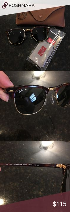 Ray Ban Clubmaster Gold/Tortoise frame. Green lenses. No scratches. Case and lens wipe included. Ray-Ban Accessories Glasses