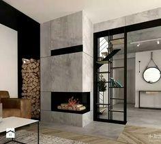 Krajewski, Fireplace, H+ architecturearchitecture Home Fireplace, Modern Fireplace, Living Room With Fireplace, Fireplace Design, Home Room Design, Home Interior Design, House Design, Modern Lounge Rooms, Lobby Design