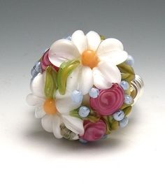 Daisy's and Summer Roses Floral Lampwork Wire Wrap Ring