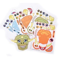 Dinosaur Face Sticker Craft. Each sheet comes with all the stickers to create your own dinosaur face! 12 sheets per pack!