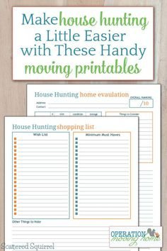 Make your house hunting a little easier with these handing moving printables. Keep track of your house requirements and wish list on one, and thoughts and concerns about potential new homes on the other.