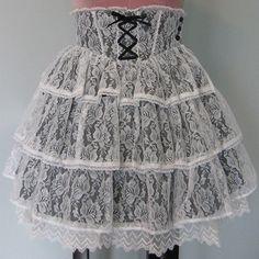 BtSSB Sugary Flora Full of Frills skirt in black x off-white