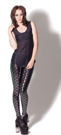 Mermaid Chameleon Leggings by Black Milk Clothing