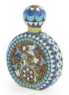 Russian silver-gilt and cloisonne enamel scent bottle mark of Nikolay Dubrovin, standard, Moscow Sculpture Metal, Beautiful Perfume, Antique Perfume Bottles, Objet D'art, Russian Art, Enamel Jewelry, Vases, Antiques, Container