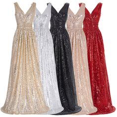 Long V-Neck Sequin Sparkly A-Line Red Black Champagne Silver Bridesmaid Dresses , wedding guest dress The long bridesmaid dresses are fully lined, 4 bones in the bodice, chest pad in the bust, Silver Bridesmaid Dresses, Long Sequin Dress, Dress Long, Pageant Dresses, Dress Prom, Gown Dress, Evening Dresses, Cheap Gowns, Mini Vestidos