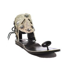 "Black Swan Sandals - I have these and love them. The Black Swan sandals are stunning, yet highly comfortable, with a distinctive South Asian flair.  The Black Swan ties at the heel, has two side-support bands to secure each side of the foot, and a black ""paduka"" to support the toes. A painstakingly well-made sandal, with delicate beading."