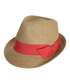 b9161ce7d0d Capelli New York Natural   Coral Woven Bow Fedora