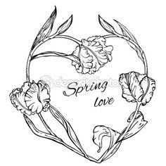 Vector achtergrond met hand tekening zwart-wit tulpen bloem — Stockvector ©…