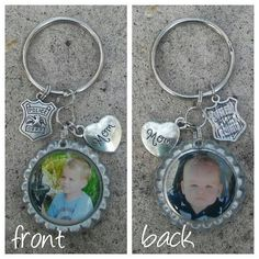 Check out this item in my Etsy shop https://www.etsy.com/listing/267130696/personalized-picture-keychain-bottle-cap #police #officer #leo #mom #dad #keychain #personalized #photo