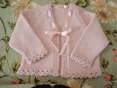 Ravelry: Babies who Lunch pattern by Sublime Yarns I knitted this Sublime pattern cardigan for both my grand-daughters. Gorgeous yarn, so soft.This pattern includes sizing for years. It is a cardigan knit in stockinette that closes with a satin bow a Crochet Baby Dress Pattern, Baby Dress Patterns, Baby Knitting Patterns, Knit Crochet, Knitting For Kids, Hand Knitting, Knitted Baby Clothes, Baby Cardigan, Knit Cardigan