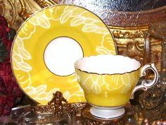 Cauldon England Yellow White Floral Art Deco China Tea Cup and Saucer | eBay