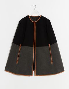870031b9acd0 Image 3 of ASOS Diagonal Cape With Leather Look Trim