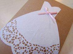 DIY Bridal Shower Cards or Invites (invitations) Bridal Shower Cards, Wedding Shower Invitations, Diy Invitations, Invitation Ideas, Dress Card, Diy Dress, Doily Wedding, Wedding Cards, Wedding Dress