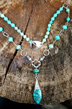Turquoise fish tail necklace. Mermaid tears jewelry