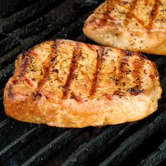 Tender Grilled Pork Chops.... marinade: 1/4 cup olive oil, 1T soy sauce, 2 tsp Montreal Steak seasoning. Marinate 2-8 hours... very delicious