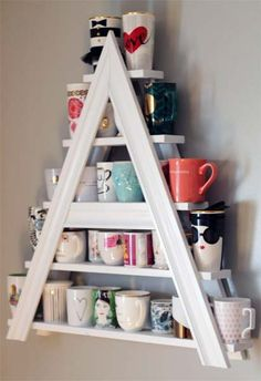 I collect different mugs and my name starts with an A.TROPHY WIFE Must Have! Custom White Wood Painted Tea or Coffee Mug Rack Letter A or Triangle or Other Letter Diy Kitchen Storage, Kitchen Decor, Coffee Mug Storage, Coffee Mugs, Coffee Mug Display, Coffee Lovers, Coffee Maker, Diy Deco Rangement, Diy Home Decor