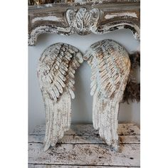 White Metal Angel Wings Wall Hanging French Nordic Cream Wing Set... ($230) ❤ liked on Polyvore featuring home, home decor, wall art, grey, home & living, home décor, lips wall art, angel wing wall art, grey wall art and grey home decor