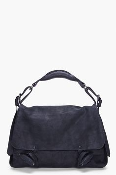 DAMIR DOMA // BLACK SUEDE MESSENGER BAG