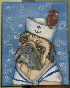 ORIGINAL ACRYLIC PAINTING ON CANVAS ART SAILOR PUG RED BIRD DOG SUMMER OCEAN