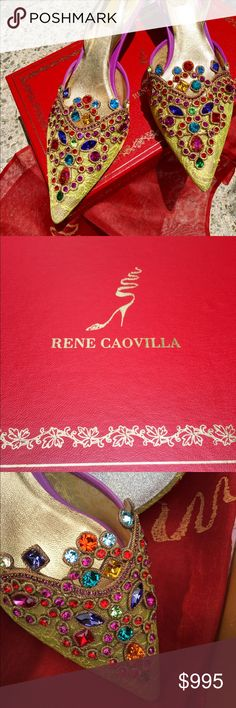 René Caovilla jeweled green lace sling back shoes Spectacular, never been worn. Private collection, bought at Neiman Marcus. Kitten heels, soles are diamond glitter. All jewels are perfect. Gold leather insole. Red crepe dust bags have gold beaded shoe design. Box is same factory that makes Cartier boxes. Made in Italy Rene Caovilla Shoes Heels