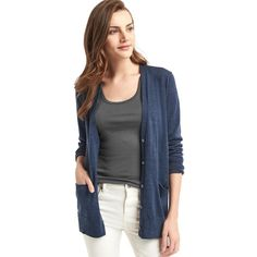 Gap Women Merino Wool Cardigan ($51) ❤ liked on Polyvore featuring tops, cardigans, indigo, regular, v neck cardigan, merino wool tops, v neck tops, v-neck cardigan and long sleeve tops