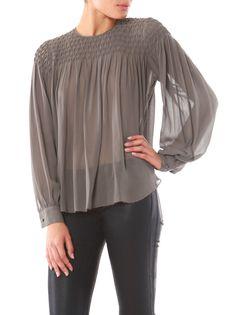 Stunning dolphin grey silk blouse. Smocking
