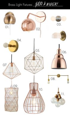 Brass Light Fixtures (on any budget!) under $100
