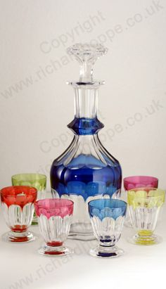 VINTAGE GLASS: DRINK SETS; DECANTERS, GLASSES, BARWARE. c.1950s VAL ST. LAMBERT HARLEQUIN PONIAT DECANTER & PAUL GLASSES LIQUEUR CORDIAL SET. To visit my website click here: http://www.richardhoppe.co.uk or for help or information email us here: info@richardhoppe.co.uk