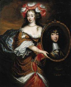 Henriette Anne d'Orleans as Minerva, holding a portrait of the duc d'Orleans 1660