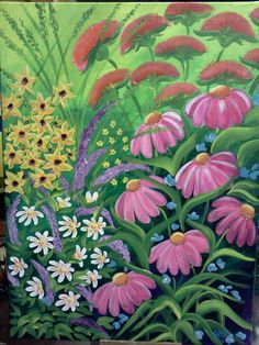 Wildflower Fantasy, Colorful, Contemporary Acrylic Painting on Canvas, Framed Vibrant Wall Art. $195.00, via Etsy.